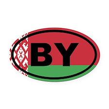 Belarus flag Oval Car Magnet