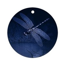 Blue Dragonfly at Night Ornament (Round)