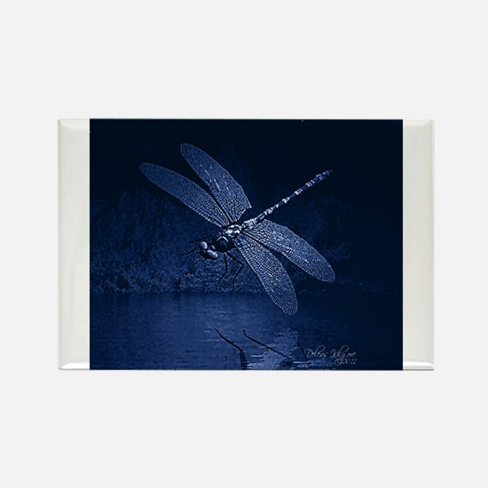 Blue Dragonfly at Night Magnets