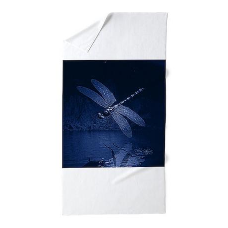 Blue Dragonfly At Night Beach Towel