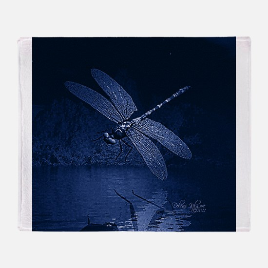 Blue Dragonfly at Night Throw Blanket