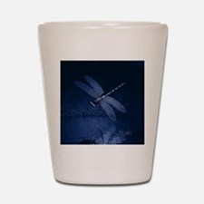 Blue Dragonfly at Night Shot Glass