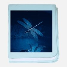 Blue Dragonfly at Night baby blanket