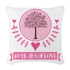 40th Anniversary Love Tree Woven Throw Pillow