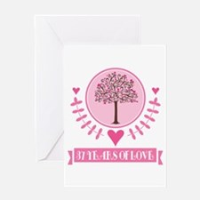 37th Anniversary Love Tree Greeting Card