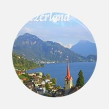 Switzerland view over lake Ornament (Round)