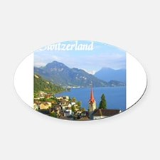 Switzerland view over lake Oval Car Magnet