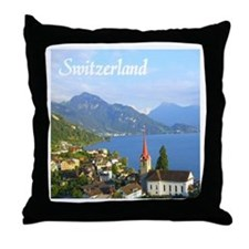 Switzerland view over lake Throw Pillow