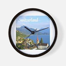 Switzerland view over lake Wall Clock