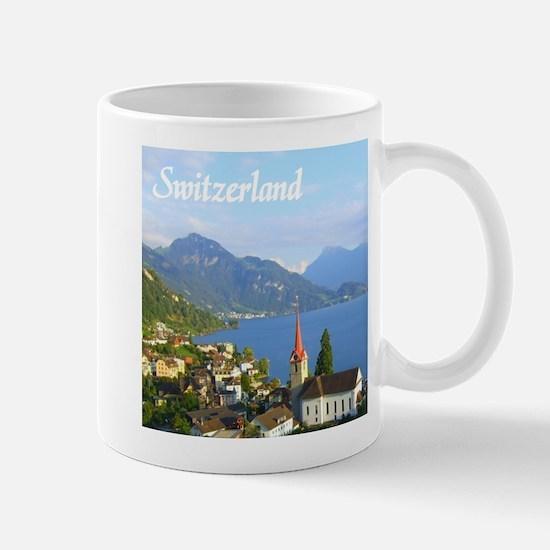 Switzerland view over lake Mugs