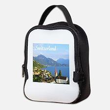Switzerland view over lake Neoprene Lunch Bag