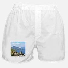 Switzerland view over lake Boxer Shorts