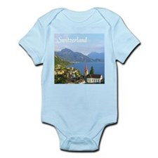 Switzerland view over lake Body Suit