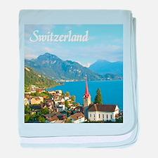 Switzerland view over lake baby blanket