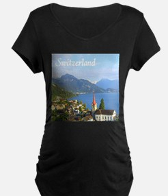 Switzerland view over lake Maternity T-Shirt