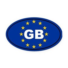 Great Britain European Union Oval Car Magnet