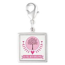 34th Anniversary Love Tree Silver Square Charm