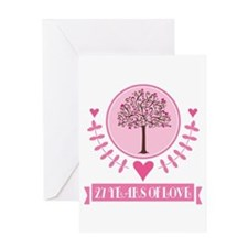 27th Anniversary Love Tree Greeting Card