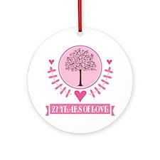 27th Anniversary Love Tree Ornament (Round)