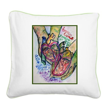 Zombie Love Poem Square Canvas Pillow