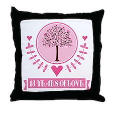 13th Anniversary Love Tree Throw Pillow