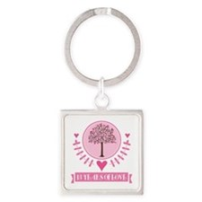 13th Anniversary Love Tree Square Keychain