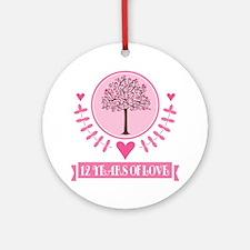 12th Anniversary Love Tree Ornament (Round)
