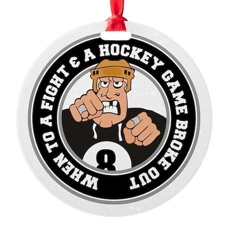Funny Hockey Player Round Ornament