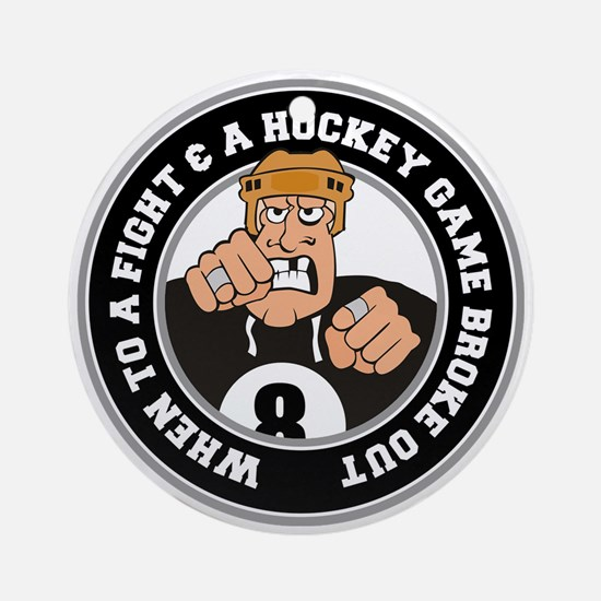Funny Hockey Player Ornament (Round)