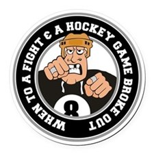 Funny Hockey Player Round Car Magnet