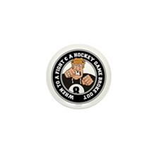 Funny Hockey Player Mini Button