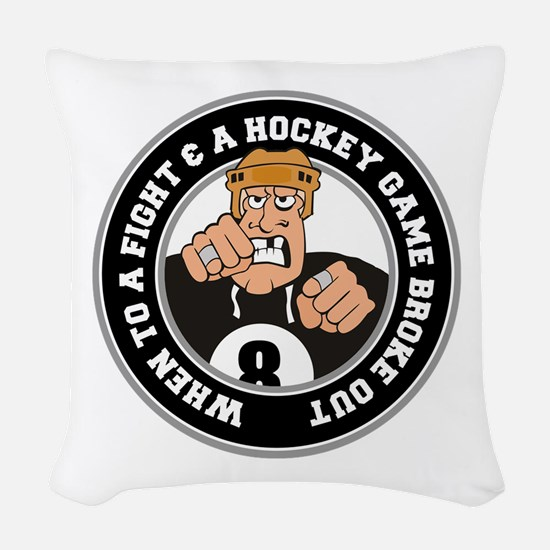 Funny Hockey Player Woven Throw Pillow