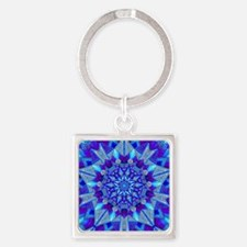 Blue and Purple Patterned Star Square Keychain