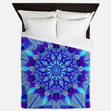 Blue and Purple Patterned Star Queen Duvet