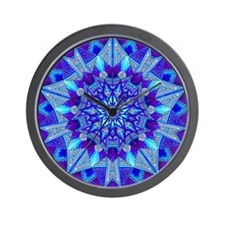 Blue and Purple Patterned Star Wall Clock