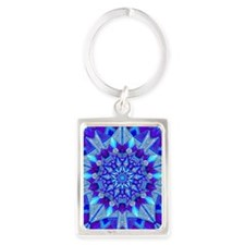 Blue and Purple Patterned Star Portrait Keychain