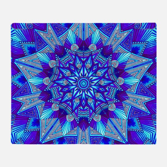 Blue and Purple Patterned Star Throw Blanket