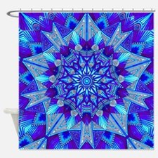 Blue and Purple Patterned Star Shower Curtain