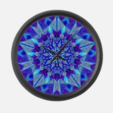 Blue and Purple Patterned Star Large Wall Clock