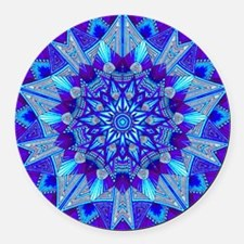 Blue and Purple Patterned Star Round Car Magnet