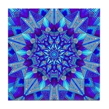 Blue and Purple Patterned Star Tile Coaster