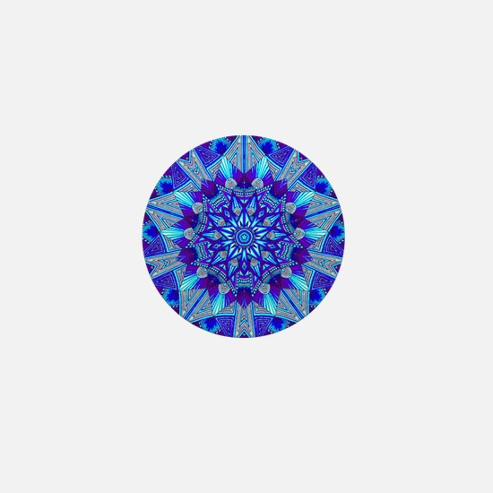 Blue and Purple Patterned Star Mini Button
