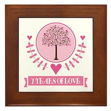 7th Anniversary Love Tree Framed Tile