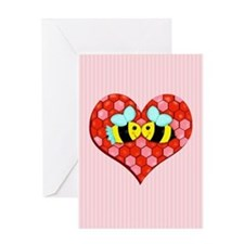 Bee Mine Valentine w/background Greeting Cards