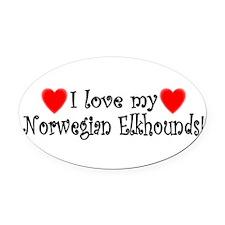 Cute Norwegian elkhound Oval Car Magnet