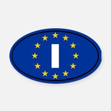 Italy European Union Oval Car Magnet