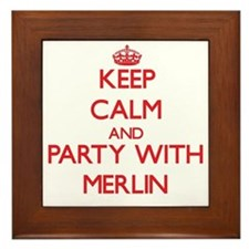 Keep Calm and Party with Merlin Framed Tile