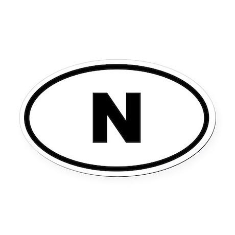 Norway N Oval Car Magnet