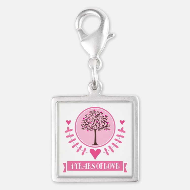 4th Anniversary Love Tree Silver Square Charm