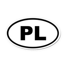 Poland PL Oval Car Magnet